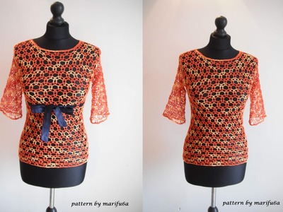 How to crochet elegant mesh blouse free pattern tutorial for beginners by marifu6a