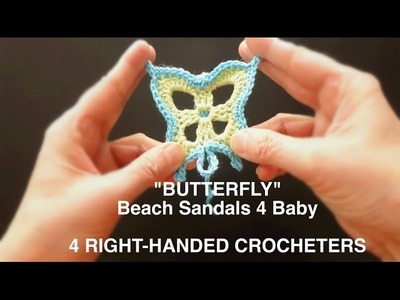 WATCH How To Crochet Simple & Easy Butterfly Baby Beach Sandals (4 Righties)