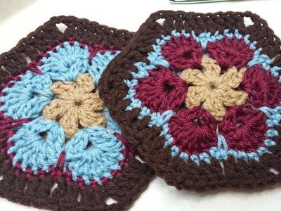 #Crochet Granny Flower Hexagon #TUTORIAL