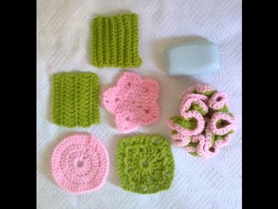 Crochet Pattern 47 - Scrubbies Set 6 Designs Included - Green Pink - Perfect Gift - Fast and Easy