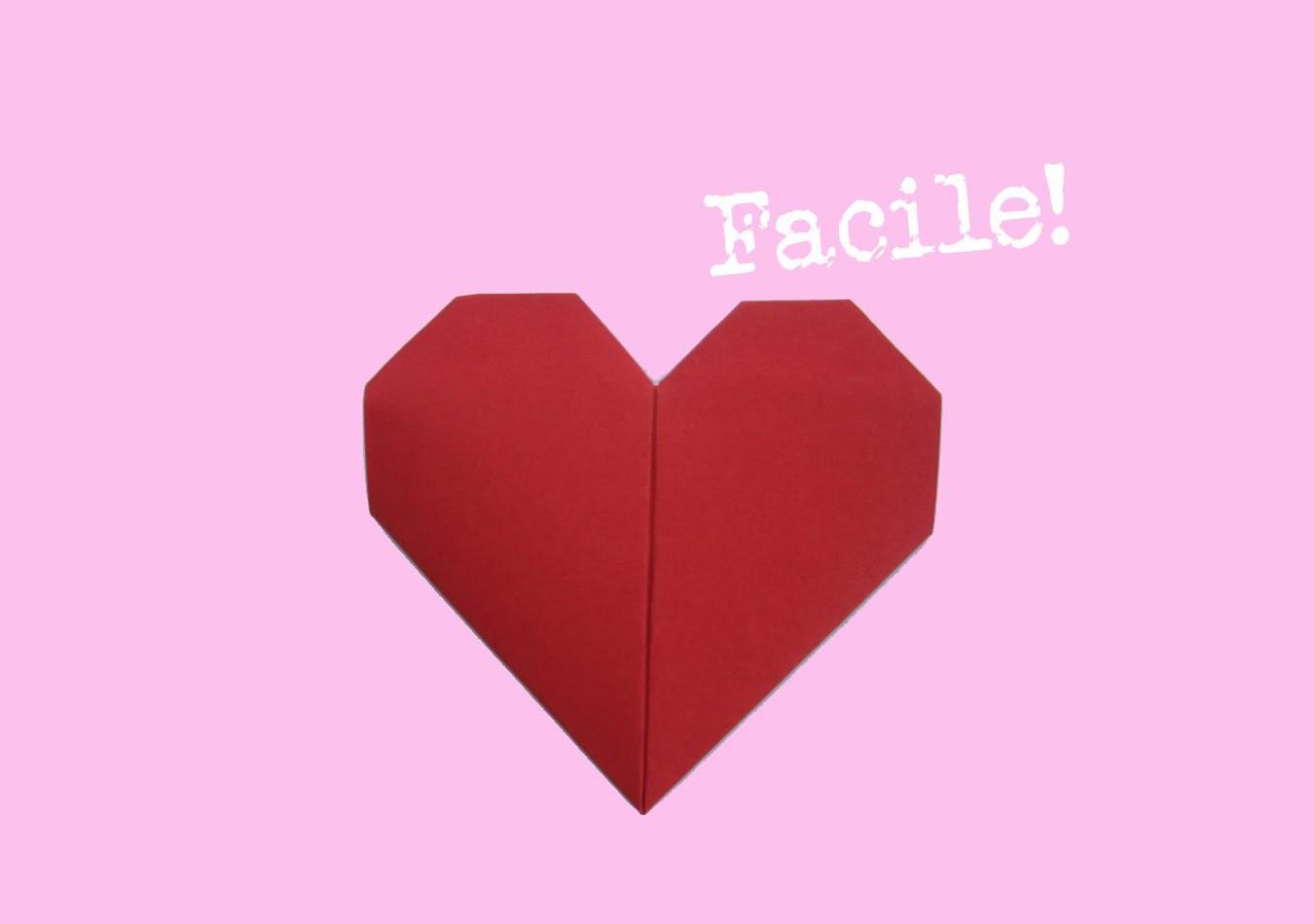 Faire un coeur en origami - papier - facile - bricoler - instruction - tutorial