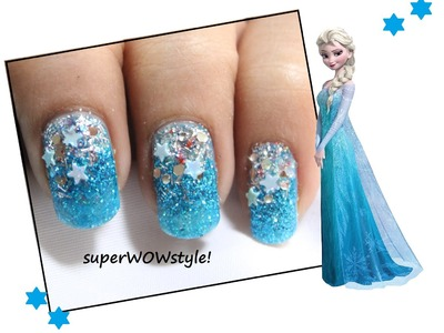 Glitter Winter Nails ❉ Elsa Frozen Nail Art ❉ Frozen Nails Tutorial DIY
