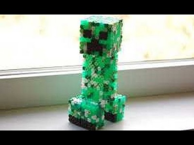 HAMA BEADS creeper 3D. CREEPER PERLER BEADS. CREEPER PYSSLA. 3D TUTORIAL