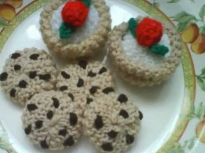 Hand knitted toys.food