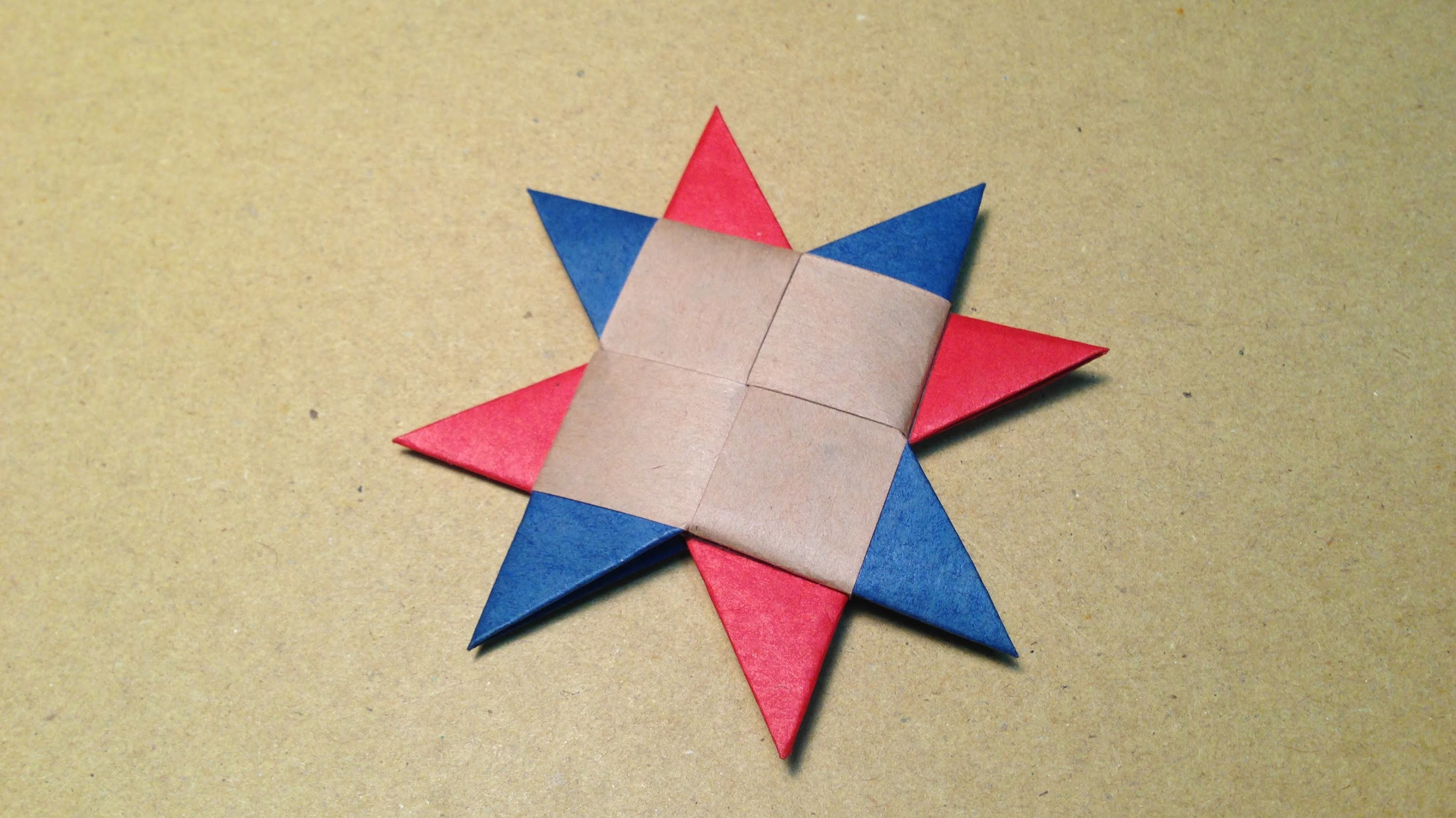How to Make a Paper Ninja Star. Origami Shuriken. 8point 3colors