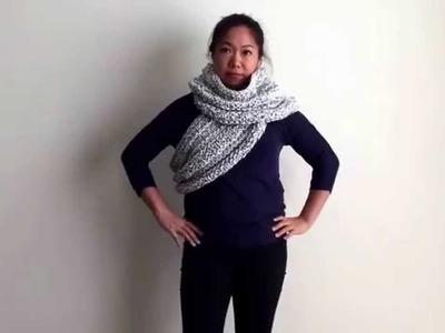 "How to wear chunky knit ""Infinity Cowl"" 6-ways with MomsKnittingNYC"