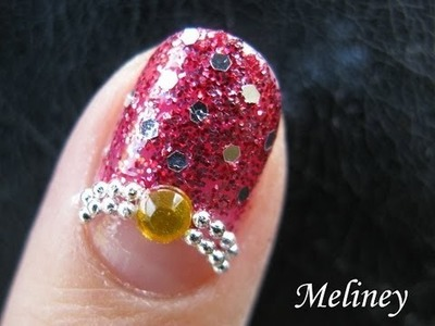 Prom Nails Glitter Red Party Nail art tutorial: New Year's Eve Decal Design simple DIY homemade