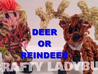 Rainbow Loom Band DEER OR CHRISTMAS REINDEER or Rudolph Charm How to Make by Crafty Ladybug