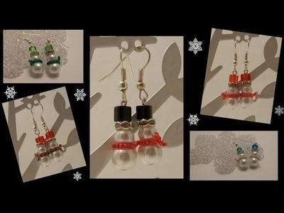 Snowmen Earrings Beading Tutorial by HoneyBeads1