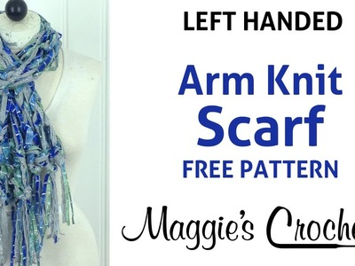 Arm Knit Starbella Flash & Starry Night Blue Fringed Scarf - Left Handed
