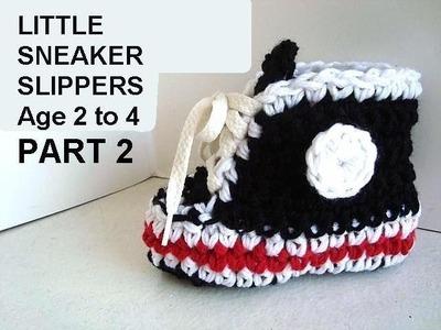 BLACK SNEAKER SLIPPERS, age 2 to 4, PART 2, free crochet pattern