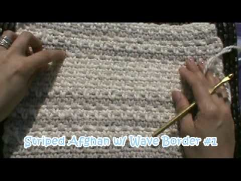 Crochet Striped Afghan Blanket with Wave Border #1