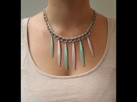 DIY Collar verde menta y nude. DIY mint-green and nude necklace