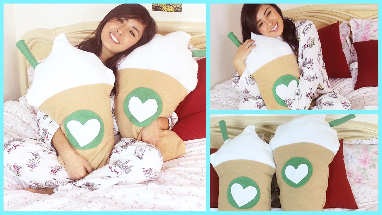 DIY Room Decor - Starbucks Frappuccino Inspired Pillow (NO SEW.SEW)
