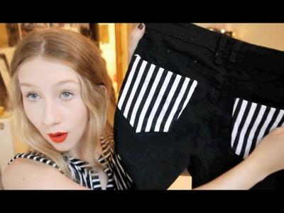 DIY Striped Pocket Jeans