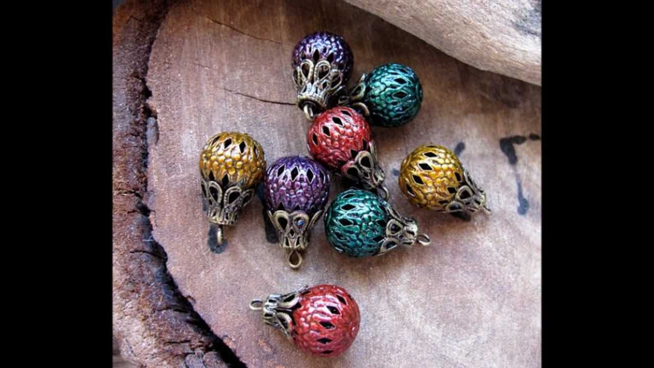 Filigree Hollow Beads - Enameled colored beads for jewelry making - Handmade Supplies by Nadin
