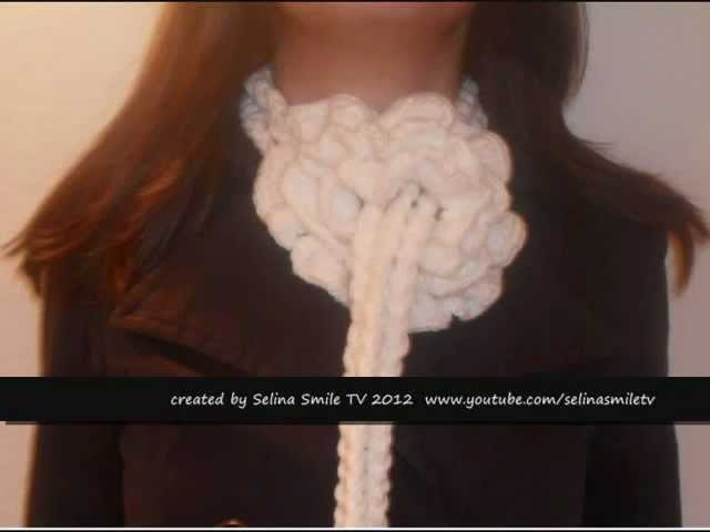 How to Knit a beautiful fashion flower scarf