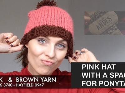 How to make a Pink Hat with a space for a Pony Tail KNITTING | BarbaraNalewko