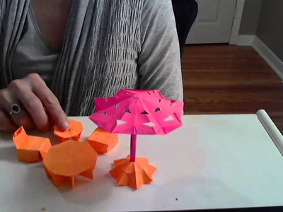 Origami Patio Set, Table,End Table and Chair and Umbrella Base Tutorial (By S. Ma) Part 1