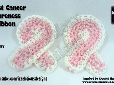 Rainbow Loom Breast Cancer Awareness Ribbon - loom-less.hook only - Inspired by Crochet Memories