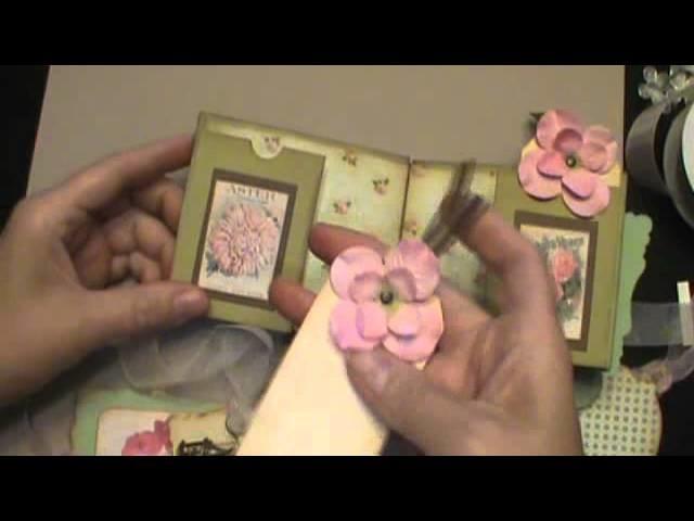 "Shabby chic library pocket mini scrapbook album and ""hinge"" binding technique tutorial"
