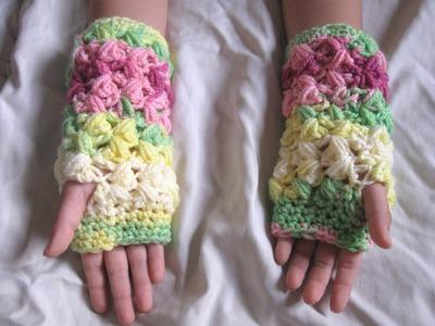 Zig Zag Puff Stitch Finger less Gloves - Left Handed Crochet Tutorial
