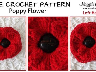 Button Poppy Free Crochet Pattern - Left Handed