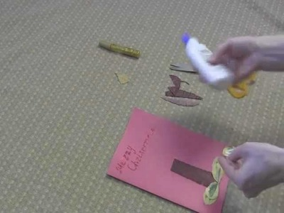 Christmas Candle: Art and Craft for kids: How to make Christmas card with dry leaves