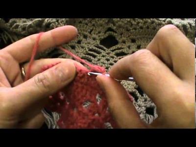 Crochet pineapple stitch triangular shawl rows 1 -10