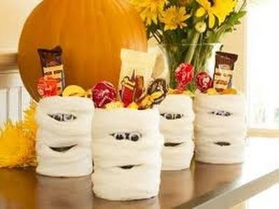 DIY Mummies using toilet paper rolls (Halloween Decorations)