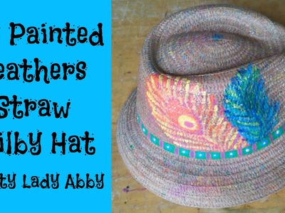 DIY Painted Feathers Straw Trilby Hat