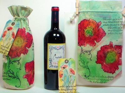 DIY stamped muslin gift bag