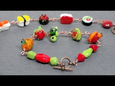 Easy lampwork bead and wire bracelet