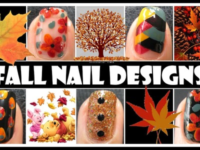 FALL NAIL ART TUTORIALS | AUTUMN FISHTAIL BRAIDED WEAVE FLOWER DESIGN EASY CUTE MANICURE DIY