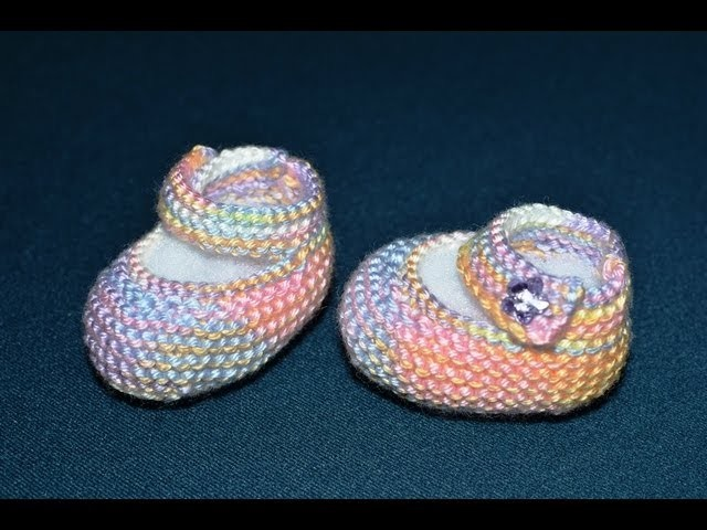 How to Knit Basic Mary Jane Baby Booties Part 1-Right Bootie (Work Flat)
