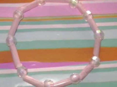 How to make a cute bracelet with hair beads and a drinking straw - EP