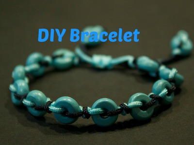 How to - make a hand-knotted bracelet with small wooden donuts