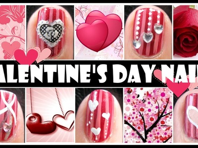 RED VALENTINE'S DAY NAIL DESIGNS | ROMANTIC NAIL ART TUTORIAL SHORT NAILS  BEGINNERS EASY SIMPLE DIY