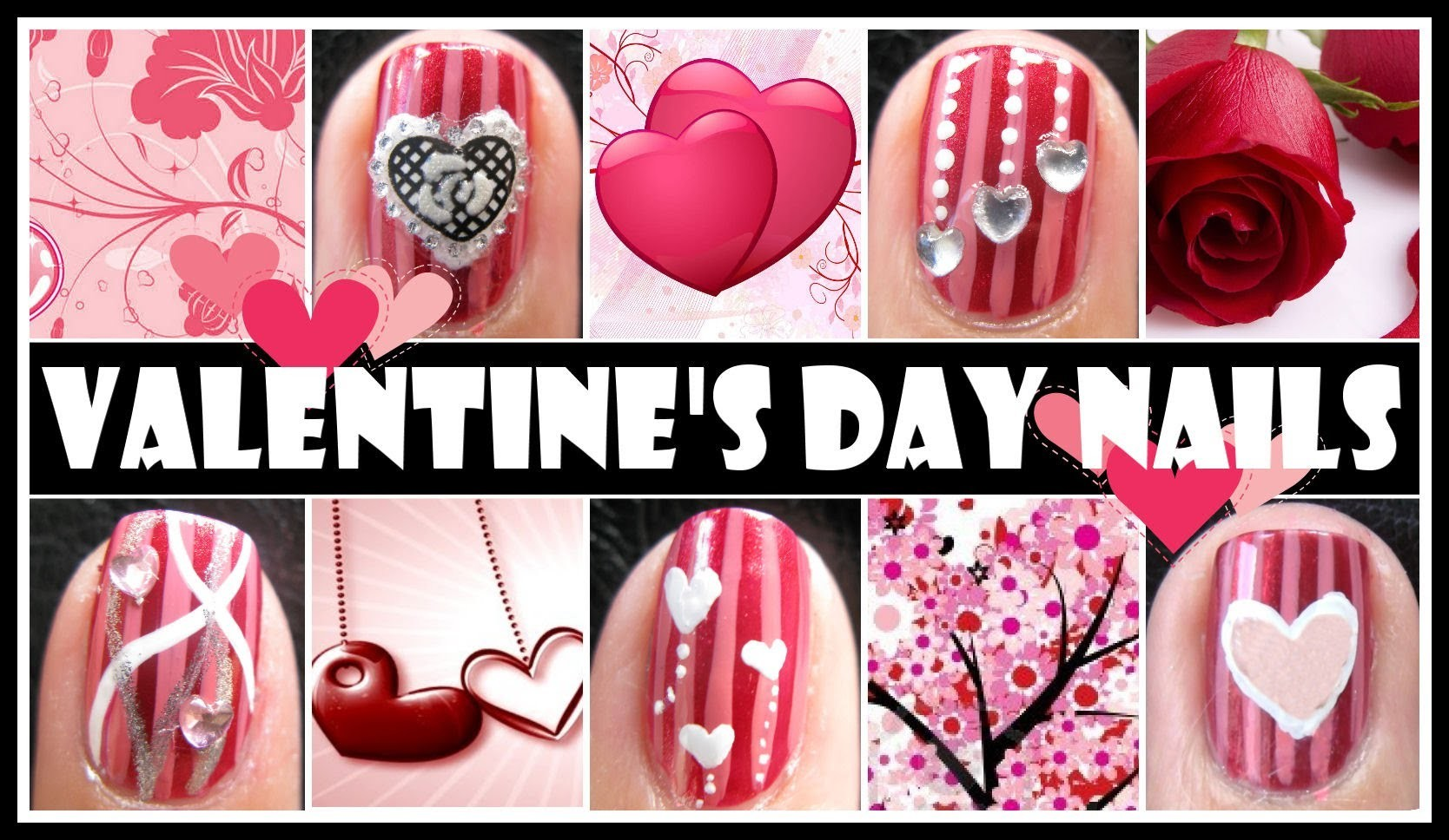 RED VALENTINES DAY NAIL DESIGNS, ROMANTIC NAIL ART TUTORIAL SHORT ...