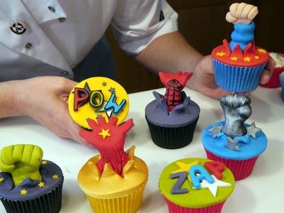 Spiderman, Superman, Batman, Incredible Hulk - Superhero Cupcakes - Cake Craft World Video 8