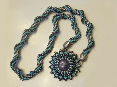 BeadsFriends: Beaded Necklace - Resin cabochon bezeled with beads and crochet rope | Beaded Jewelry