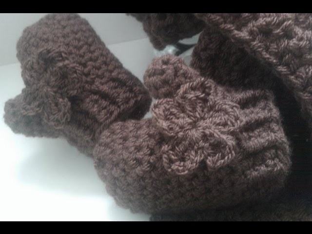 Crochet hat scarf mitts flower chunky front back post| Fresh off tha hook Thursday with Haylees Hats