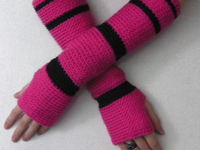 Crochet tutorial: hand arm cuffs sleeves gauntlets