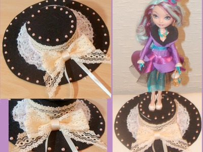 Doll craft: Madeline Hatter decorative top hat display that is also a Jewelry Box