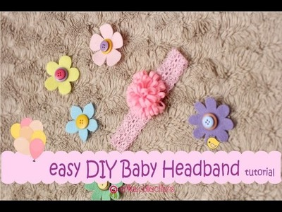 Easy DIY Baby Headband Tutorial [Pink Flower] -Erika Felt. Flanel Craft