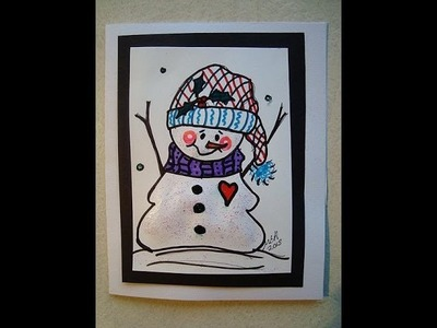 GLITZY SNOWMAN CHRISTMAS CARD, how to diy holiday cards, cardmaking