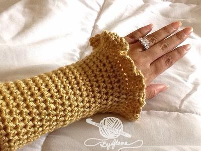 How To Crochet Glama's Ruffly Wrist Warmers.Coat Cuffs