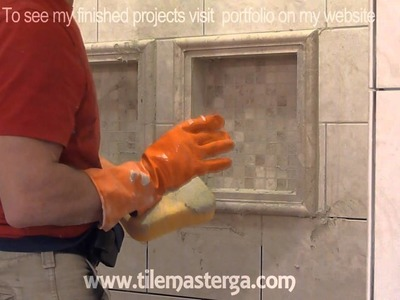 """Part """"6"""" How to apply grout on shower wall tiles - DIY bathroom tile installation ( brick pattern)"""