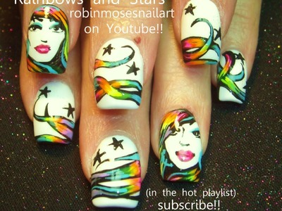 3 Nail Art Tutorials | DIY Pretty Girls with Rainbow Hair & stars Nail Design