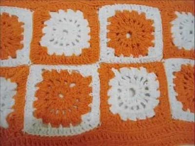 Crochet granny square table cloth